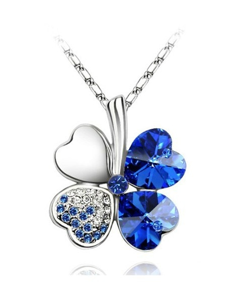 4 four Leaf Leaves Clover pendant necklaces