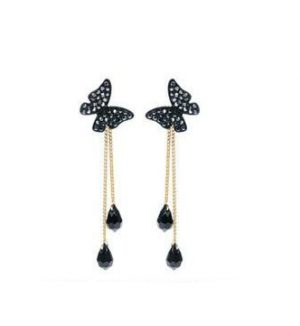 Butterfly Crystal Fringed Earrings