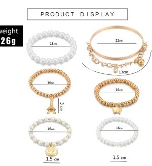 6pcs/set Fashion Multilayer Beaded Bracelets